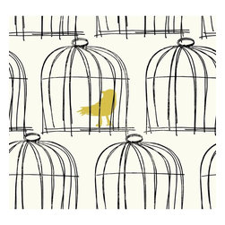 Birdcage Wallpaper - Give walls an unexpected touch with hand drawn birdcage wallpaper.