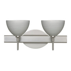 Besa Lighting - Besa Lighting 2SW-4679TN Brella 2 Light Reversible Halogen Bathroom Vanity Light - Brella has a classical bell shape that complements aesthetic, while also built for optimal illumination. Our Titan glass is a soft off-white cased glass that is handcrafted with spiraling strokes of silver, emphasizing the subtle brush pattern. The silvery rippled design is subdued and harmonious. Unlit, it appears as simply a textured surface like spun silk, but when lit the texture comes alive. The smooth satin finish on the clear outer layer is a result of an extensive etching process, with the texture of the subtle brushing. This blown glass is handcrafted by a skilled artisan, utilizing century-old techniques passed down from generation to generation. The vanity fixture is equipped with decorative lamp holders, removable finials, linear rectangular housing, and a removable low profile oval canopy cover.Features: