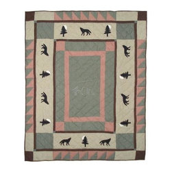 Patch Magic - Wolf Trail Throw - 50 in. W x 60 in. L. 100% Cotton. Handmade, hand quilted. Machine washable. Line or flat dry only