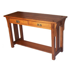 Taylor Made Furniture - Mission Sofa Table - Mission Sofa Table-features mortise & tenon construction with wedged through tenons and decorative tenons through the top, shown in Quarter Sawn White Oak. 17x48x28 high