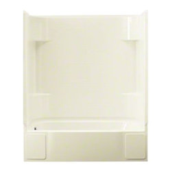 Sterling - Sterling Accord 76140110 60W x 73.25H in. Whirlpool Bathtub Shower Combo - 76140 - Shop for Jetted/Whirlpool from Hayneedle.com! The Sterling Accord 76140110 60W x 73.25H in. Whirlpool Bathtub Shower Combo has a clean minimal design that looks great in contemporary style bathrooms and boasts enough power to give you a highly therapeutic experience! This unit comes with a pre-installed whirlpool pump that's ready to connect to water and deliver you 1.25 HP from 6 adjustable jets for a relaxing home spa like no other. Few spas can double as a shower or bath but you've found one here! This versatile whirlpool also features a 15-inch apron so you can enjoy a deep soak and realistic tile wall surround with generous shelving so you may shower. Sterling has a reputation for high-quality construction and long lasting performance in all their products. The compression-molded Vikrell is a Sterling exclusive that provides strength durability and a lasting beauty that you can customize with your own choice of finish. Kohler almond Kohler biscuit and pure white are all available with a coating of high-gloss that creates a smooth shiny surface which looks marvelous and is incredibly easy to clean. This CSA-certified Whirlpool bathtub measures 60W x 30D x 73.25H inches and assembles easily in 4 modular pieces that can be installed at any phase of construction. All faucet drain and other accessories sold separately.Product Specifications:Overall Height: 73.25 inchesOverall Width: 60 inchesOverall Depth: 30 inchesHeight (Back Panel): 73.25 inchesWidth (Back Panel): 60 inchesThickness (Back Panel): 1 inchHeight (Side Panel): 73.25 inchesWidth (Side Panel): 30 inchesThickness (Side Panel): 1 inchBase Shape: Oval in rectangleInstallation Type: AlcoveNumber of Thresholds 1Drain Placement: Left or rightAbout SterlingEstablished in 1907 and quickly recognized as a leading manufacturer of faucets and brassware Sterling has been known for their diversity of products and industry-leading designs for over a century. In 1984 Sterling was acquired by Kohler Co. to create a mid-priced full-line plumbing brand and allow Kohler the opportunity to sell their products in retail stores. Over the years Kohler quickly began acquiring other companies to help enhance the Sterling line of products that was quickly growing into the likes of stainless steel sinks compressed fiberglass bathtubs and enclosures and vitreous china products. With that said Kohler was able to take a modestly sized faucet company and turn it into a successful full-line brand. Today Sterling is a brand of Kohler co. and their diversity in products craftsmanship and innovation over a broad range of price points makes them a recognized leader in kitchen and bath design.