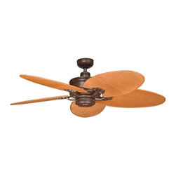"""DECORATIVE FANS - DECORATIVE FANS Crystal Bay 52"""" Indoor / Outdoor Transitional Ceiling Fan X-PZT2 - A rich Tannery Bronze Powder Coat finish helps accentuate the lines of the botanically inspired fan blades, which mimic the look of large tropical leaves. From the Crystal Bay Collection, this Kichler Lighting outdoor ceiling fan will easily blend into a variety of outdoor spaces."""