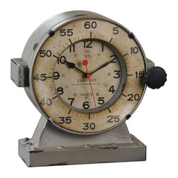 Vintage Style Marine Table Clock - *Distressed, Antiqued Gray With An Antiqued, Aged Ivory Clock Face