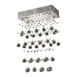 Elegant Lighting - Elegant Lighting 2021D16C/EC Galaxy 4 Light Chandeliers in Chrome - 2021 Galaxy Collection Hanging Fixture L16in W8in H24in Lt:4 Chrome Finish (Elegant Cut Crystals)