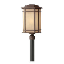 Hinkley Lighting - Hinkley Lighting 1271OZ-GU24 Cherry Creek 1 Light Post Lights & Accessories in O - Cherry Creek's modern take on the popular Arts and Crafts style has a timeless appeal. The cast aluminum construction is enhanced by the warmth of the finish and the vintage-looking glass.