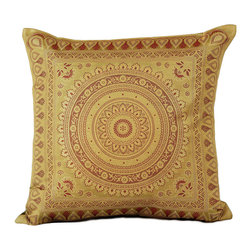 Banarsi Designs - Exotic Oriental Pillow Cover, Set of 2 (Dark Gold) - The Exotic Oriental Pillow Cover brings beauty and style to your surroundings. Crafted in India, these gorgeous throw pillow covers are available in a variety of unique colors. Choose from a great variety of colors in our collection or mix and match your favorite pillow covers together to create a customized look for your home.  Zippers allow for easy removal and the 16 X 16 size fits most throw pillows in your home. Perfect for decorating your living room, guest rooms and bedrooms.