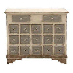 Customary Styled Wood 17 Drawer Chest - Description: