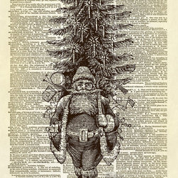Altered Artichoke - St. Nicholas Father Christmas Dictionary Art Print, Sepia - This print features a beautiful antique illustration of St. Nicholas (Father Christmas) carrying his pack of toys and a Christmas tree. From an old FAO Schwarz Christmas newspaper advertisement. Charming!
