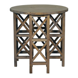 Zimmerman Side Table - Old Wood - Architectural and eye-catching, the Zimmerman Side Table creates an inspiring rhythm of light and shadow with its geometric wooden construction.  The contrast of the round top against the x-braced blocks that, stacked, make up the scaffolding of the legs harmonizes a rustic geometry.  The result is an end table that expands your space by allowing light to pass through but has a striking visual solidity in the transitional room.