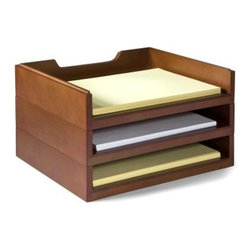 Stack & Style Wood Letter Organizer - Mahogany - Created to match the Stack & Style Desk Organizers Collection, the Stack & Style Wood Letter Organizer - Mahogany makes stacking papers and files stylish and functional. Crafted of real wood veneers over MDF with a cherry finish, this organizer has bottom edges and routed tops.