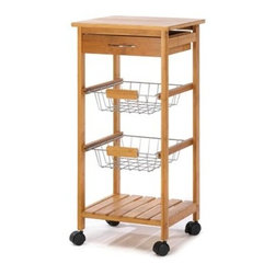 n/a - Osaka Kitchen Cart - Attractive rolling cart complements any gourmet kitchen!  The perfect fusion of function and fashion, with a sleek tower silhouette containing a solid bamboo top, utensil drawer, two baskets and a bamboo shelf.  Bamboo and chrome plated metal.  Some assembly required.