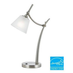 CAL Lighting - CAL Lighting Glass Lamp: 22.5 in. Metal Table Lamp with Glass Shade BO-2218TB - Shop for Lighting & Fans at The Home Depot. Add a touch of modern sophistication to your decor. This versatile desk lamp is the perfect addition to any table or desk area in need of light. It features a sleek adjustable arm and neck set upon a solid base. The white frosted bell shade diffuses the light for a soft and cool effect.