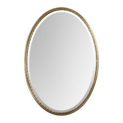 Uttermost - Brass Oval Mirror - Plated, brushed brass finish with twisted metal rope detail.