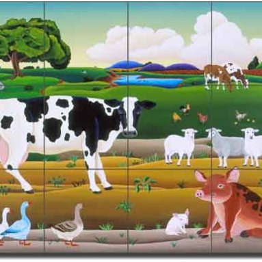"Artwork On Tile - Ceramic Tile Mural Backsplash del Rio Farm Animal Art 24"" x 18"" - POV-RR020 - * 24"" w x 18"" h x .25"" Ceramic Tile Mural on Architectural Grade, 6"" Tile w/Satin Finish"