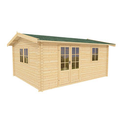 Paradise 12 x 10 Wood Shed / Pool House - ECO Garden Sheds. All natural wood 12 x 10 Traditional pool house / wood shed -- Paradise. 12 x 10 Wood Shed - Front view A.