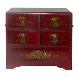 Golden Lotus - Chinese Red Phoenix Dragon 5 Drawers Storage Box - This jewelry / storage accent box is modified from the traditional Chinese box. It is made of cardboard paper and covered with artificial leather.