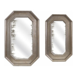 IMAX - Cannes Oversized Tray Wall Decor - Set of 2 - Serve up a fresh look in wall decor with a pair of oversized trays finished in a mottled metallic, surrounding generously sized mirrors.