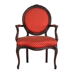 "Consigned Red Antique Carved Armchair - Exquisite 19th Century French-style fauteuil with carved fruit on crest of oval back, cabriole legs and curved apron. The vintage silk fabric has a gold diamond pattern on a rich red background. Seat is 17""H."