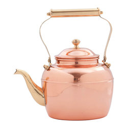 Old Dutch International - 2½ Qt. Solid Copper Tea Kettle with Brass Handle - This handsome 2 ½ Qt. Solid Copper Tea Kettle features a Brass Handle, knob and spout. For use on all Gas and Electric  stoves.
