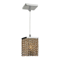 """Worldwide Lighting - Prism 1 Light Chrome Finish and Amber Crystal Mini Pendant 5"""" Square x 8.5"""" H - This stunning 1-light Crystal Mini Pendant only uses the best quality material and workmanship ensuring a beautiful heirloom quality piece. Featuring a radiant chrome finish and finely cut premium grade amber (translucent yellowish-orange color) crystals with a lead content of 30%, this elegant pendant will give any room sparkle and glamour. Worldwide Lighting Corporation is a privately owned manufacturer of high quality crystal chandeliers, pendants, surface mounts, sconces and custom decorative lighting products for the residential, hospitality and commercial building markets. Our high quality crystals meet all standards of perfection, possessing lead oxide of 30% that is above industry standards and can be seen in prestigious homes, hotels, restaurants, casinos, and churches across the country. Our mission is to enhance your lighting needs with exceptional quality fixtures at a reasonable price."""