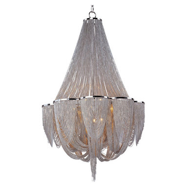 Chantilly 12 Light Chandelier by Maxim Lighting - Chantilly collection features metal frames gracefully draped with nickel finished jewelry chain. Metal trim rings of polished nickel add sharp contrast to the softness of the chain, which conceals the xenon light source.