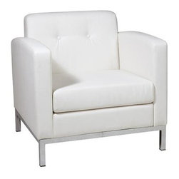 Ave Six - White Faux Leather Wall Street Lounge Chair with Tufted Back - Covered in high performance, easy care faux leather. Box spring seat for durability and comfort. Chrome finish base. Made from faux leather and chrome. White faux leather. One year warranty. Assembly required. Seat width: 23 in.. Seat depth: 22 in.. Seat height: 17.5 in.. Back: 23.5 in. W x 6.5 in. D x 15.5 in. H. 30.5 in. W x 28 in. D x 30 in. H (104 lbs.)