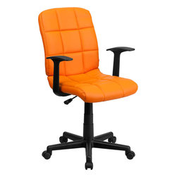 "Flash Furniture - Mid-Back Orange Quilted Vinyl Task Chair with Nylon Arms - This contemporary designed computer chair will highlight a dull or attractive work space. Get away from the ordinary office chair with the attractive quilted, tufted upholstery. Mid-Back Swivel Computer Chair; Orange Vinyl Upholstery; Quilted Design Covering; Pneumatic Seat Height Adjustment; Nylon Arms; Heavy Duty Nylon Base; Dual Wheel Casters; CA117 Fire Retardant Foam; Overall dimensions: 23""W x 24""D x 34"" - 38.75""H"