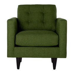 Apt2B - The Logan Chair, Green Apple - Add a bit of vintage glamour to your space with the Logan. Sleek wood legs and button tufted back cushions take this modern shape to an elevated level. The ultimate show piece for your stylish room. Each piece is expertly handmade to order in the USA and takes around 2-3 weeks in production. Features a solid hardwood frame and upholstered in a textured poly-blend fabric.