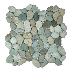 """Pebble Tile Shop - Sea Green Pebble Tile - Each pebble is carefully selected and hand-sorted according to color, size and shape in order to ensure the highest quality pebble tile available.  The stones are attached to a sturdy mesh backing using non-toxic, environmentally safe glue.  Because of the unique pattern in which our tile is created they fit together seamlessly when installed so you cant tell where one tile ends and the next begins!    Usage:    Shower floor, bathroom floor, general flooring, backsplashes, swimming pools, patios, fireplaces and more.  Interior & exterior. Commercial & residential.    Details:    Sheet Backing: Mesh    Sheet Dimensions: 12\ x 12\""""    Pebble size: Approx 3/4\"""" to 2 1/2\""""    Thickness: Approx 1/2\""""    Finish: Green Natural"""""""