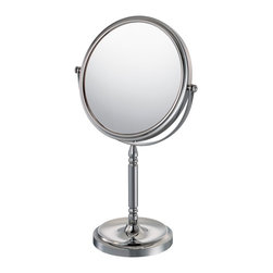 """Lamps Plus - Traditional Aptations Recessed Base Chrome 15 1/4"""" High Makeup Mirror - Makeup mirror. Chrome finish. Recessed base. 5X magnification. Tilts for viewing. 7 3/4"""" wide frame. Base is 5 1/4"""" round. 15 1/4"""" high.  Makeup mirror.    Chrome finish.   Recessed base.   5X magnification.   Tilts for viewing.  7 3/4"""" wide frame.   Base is 5 1/4"""" round.   15 1/4"""" high."""