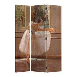 "ADAD5470 - 3 Panel Ballerina Dancer Woman Pastel Look Room Divider Shoji Screen on Canvas - 3 panel Ballerina dancer woman pastel look room divider shoji screen on canvas print . Made with a painted canvas covering. Measures 48"" W x 71"" H."