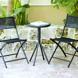 Jeco - 3-piece Black Glass Table Bistro Set - This bistro set is easy to store by simply folding the chairs and legs of table. This set is ideal for your garden patio,conservatory,balcony,or courtyard.