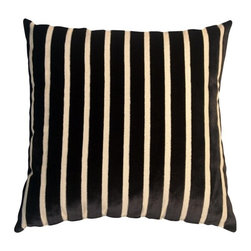 Pillow Decor - Pillow Decor - Monroe Velvet Stripes 22 x 22 Black Throw Pillow - This gorgeous pillow features luxuriously soft velvet stripes in black on a sturdy upholstery grade fabric backing in cream. Ideal for both traditional and contemporary settings, this generous 22 inch square pillow works wonderfully on larger sofas, sectionals, beds or daybeds.