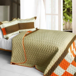 Blancho Bedding - [Frenzied Night] 3PC Vermicelli-Quilted Patchwork Quilt Set (Full/Queen Size) - Features intricate hand-stitching patterns with timeless appeal. Creates a cozy and inviting atmosphere and is sure to transform the look of your bedroom. Gives the finishing touch to your room decor; Enjoy a good night's sleep in a luxurious quilt set. Pre-washed, pre-shrunk, reversible and vermicelli-quilted for elegance and durability. Soft materials and high tenacity; Concentrated stitches; Machine washable and dryable.