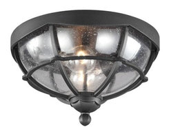 Murray Feiss - Murray Feiss OL9812TXB 1 - Light River North Outdoor Lantern, Textured Black - The Feiss River North two light outdoor ceiling fixture in textured black creates a warm and inviting welcome presentation for your homes exterior. Inspired by the silhouette of a gazebo the River North Collection balances the soft lines featured in the dome the scallop detail and the finial with the angular panes of glass around the perimeter. The seeded glass adds visual interest.