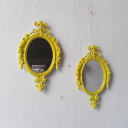 Chartreuse Mirrors, Small by Secret Window Mirrors - One of my favorite DIY ideas is sprucing up a few thrift-store items with an unexpected spray paint color. With these two mirrors, the work is already done for you.