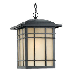 Quoizel - Quoizel 1 Light Hillcrest Outdoor Pendant, Imperial Bronze - HC1913IB - A design made for classic Arts & Crafts style homes, but looks great on contemporary or modern homes as well. The opaque linen glass softens the light, reducing glare and hot spots.
