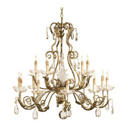 Kathy Kuo Home - Holden Gold Leaf Traditional Crystal Chandelier - Reminiscent of the grand palaces of Europe, this ornate gold leaf faceted crystal drop chandelier brings on the bling in with a late 17th century approach.  Traditional homes and luxurious spaces of every stripe will appreciate this guilty pleasure.