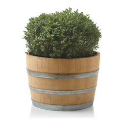 """Viva Terra - Wine Barrel Planter - We commissioned a local artisan to halve fine re-purposed oak wine barrels and drill a wide drain hole in the bottom to serve as weather-proof  planters. Made in USA. 28""""D x 18""""H"""