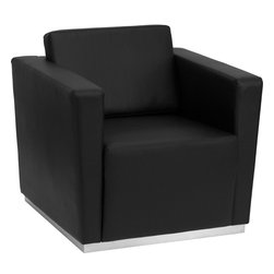 Flash Furniture - Hercules Trinity Series Contemporary Black Leather Chair w/Stainless Steel Base - This contemporary black leather reception chair will bring a clean and professional look to your reception area. This chair will adapt in a variety of environments with its clean line appearance, thick fixed cushion seats and overall comfort level.