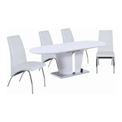 New Spec - 7 Pc Cafe Dining Set - Includes Table and 6 chairs. Stainless steel legs. Glossy MDF material. Butterfly Extended. Modular Assemble. Table: 70.87-86.61 in. W x 35.43 in. D x 29.92 in. H (195 lbs). Chair: 16.54 in. W x 25.2 in. D x 37.4 in. H (18 lbs)