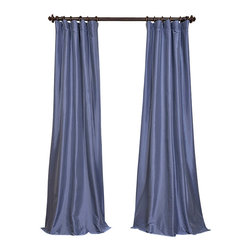 "Exclusive Fabrics & Furnishings, LLC - Wisteria Blue Faux Silk Taffeta Curtain - 56% Nylon & 44% Polyester. 3"" Pole Pocket with Hook Belt. Lined. Interlined. Imported. Weighted Hem. Dry Clean Only. SOLD PER PANEL."