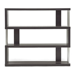 "Baxton Studio - Baxton Studio Barnes Dark Brown Three-Shelf Modern Bookcase - This artsy, modern bookcase gets you organized with style. Our Barnes Bookcase is made of dark brown faux wood grain paper veneer over and engineered wood frame and features chromed steel side supports. Not only does this modern display shelf house books, but it is also the perfect place to show off your prized vases, d??????cor, and home accents.  The Barnes Bookcase is Malaysian-made, requires assembly, and should be dry dusted. Separately offered is the Barnes Bookcase with six shelves. 38""H x 43"" W x 11"" D>"