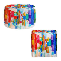 DiaNoche Designs - Ottoman Stool  - Color Blocks - Lightweight, artistic, bean bag style Ottomans.  Coming in 2 squares sizes and 1 round, you now have a unique place put rest your legs or tush after a long day!. Artist print on all sides. Dye Sublimation printing adheres the ink to the material for long life and durability. Printed top, khaki colored bottom, Machine Washable, Product may vary slightly from image.