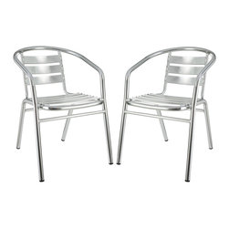 LexMod - Two Perch Modern Aluminum Outdoor Accent Chairs - Define your homestead and empower your space with the Perch Outdoor Accent Chair. Ascend levels with conversational partners in an effort to attain communal sustainability. Valued measures of expression generate a protected place to prosper.