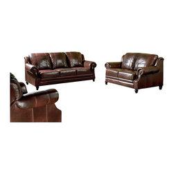 Coaster - Coaster 3-Piece Tri-Tone Leather Sofa Living Room Set in Brown - Coaster - Sofa Sets - 50066XPKG