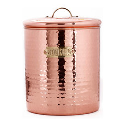 "6¾"" Dia. x 9"" H. Décor Copper Hammered Cookie Jar, 4Qt. - With it's hammered finish and large 4 Qt. capacity, this copper-plated steel Cookie Jar is the perfect countertop storage solution.  ""Fresh Seal®"" cover technology keeps baked goods fresh and safe. Tarnish-resistant finish keeps it looking fabulous."