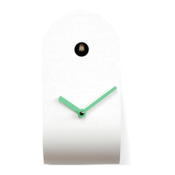 Progetti - CuCupola 2135 White/Green Wall Clock - Cuckoo clock made in wood and metal. Battery quartz movement. The Cuckoo strikes is switched off automatically during the night controlled by a light sensor.
