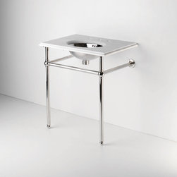 Metal Round Two Leg Single Washstand | Waterworks - If you're short of space, or don't like the look of a bulky vanity, this elegant open washstand is a winner. Plus, the bars serve as extra towel storage.