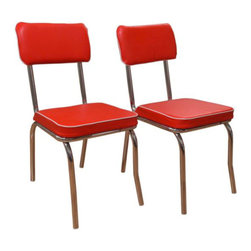 TMS Retro Fabric Dining Chairs, Red, Set of 2 - A set of retro-fabulous dining chairs is a fun and bold throwback. If you've got a hankering for a funky kitchen, these might be the right fit for you!